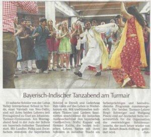 Bericht des Straubinger Tagblatts über den Bayerischen Abend am Johannes-Turmair-Gymnasium